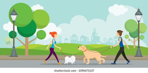 Man and Woman with Dogs in the Park, Walking, Exercise, Outdoor City Background