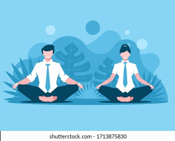 Man and woman doing joga. Office workers meditate and relax in a lotus pose