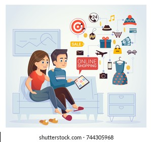 Man and woman doing online shoppin, browsing the internet at the laptop. Vector clip art