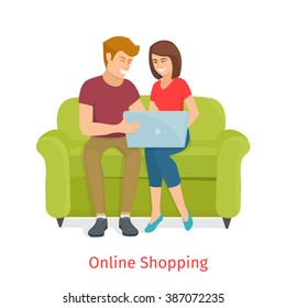 Man and woman doing online shopping/Laughing couple browsing the internet at the laptop/Cartoon Family  make purchases through the internet sitting on the couch/Online shopping vector illustration.