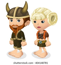 A man and a woman dressed as a Viking isolated on white background. Vector illustration.