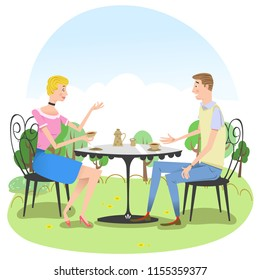 Man and woman drinking tea in outdoor cafe (vector illustration)