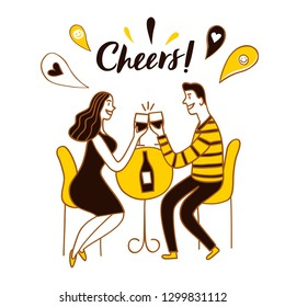 Man and woman drinking the wine. Cheers title. Cartoon vector illustration for your design.