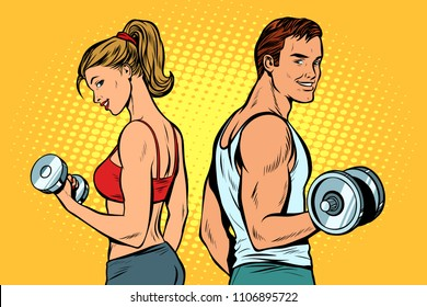 man and woman with dumbbells. Pop art retro vector illustration kitsch drawing