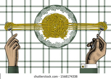 Man and woman eating spaghetti. Poster for Italian restaurant. The theme for the menu. Vintage engraving stylized drawing. Vector illustration