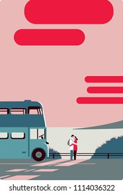 Man and woman, embrace and look at each other against sea, moment of farewell, sunset. Shuttle bus stands nearby, a southern seascape. Travel, love, tenderness, parting, wandering, hope. Minimalism