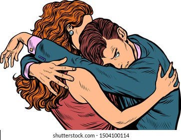 man and woman embrace in love. Wife comforting husband. Pop art retro vector illustration drawing