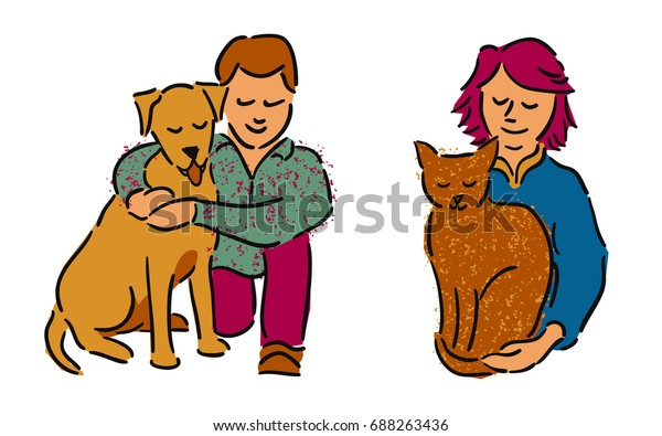 Man and woman embracing their pet cat and dog
