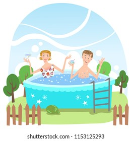 Man and woman enjoying drinks in pool on warm summer day (vector illustration)