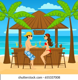 Man and woman enjoying summer vacation, drink cocktails at beach bar, sitting under palm trees, colorful cartoon vector illustration