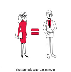 Man and woman are equal, business gender equality concept, equality of the sexes. Equal work equal pay. Modern flat vector illustration.