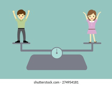 Man and woman equality concept vector cartoon