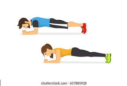 man and woman exercising, standing in a plank position