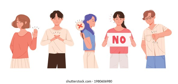 Man and woman expressing rejection. People who make x-hand gestures, hold pickets that say no, and frown.
