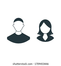 man and woman face profile, male female couple isolated on white background in flat style