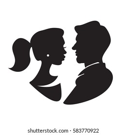 Man and woman face profile, male and female silhouette. Vector illustration