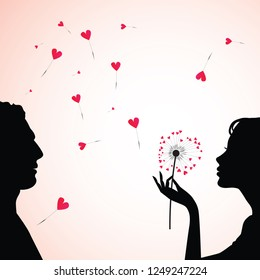 Man and woman face silhouette with flower dandelion heart. Vector illustration.