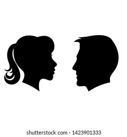 Man and woman face silhouette illustration. Face to face vector icon.