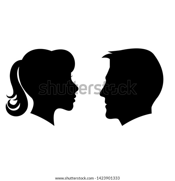 Man Woman Face Silhouette Illustration Face Stock Vector Royalty Free 1423901333