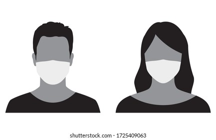 Man and Woman face silhouette in medical mask. Male and female person avatar in surgical mask. Vector illustration.