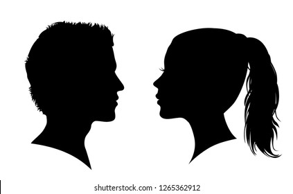Man and woman face silhouette. Face to face – stock vector