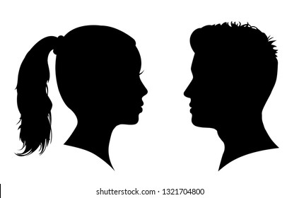Man and woman face silhouette. Face to face – for stock