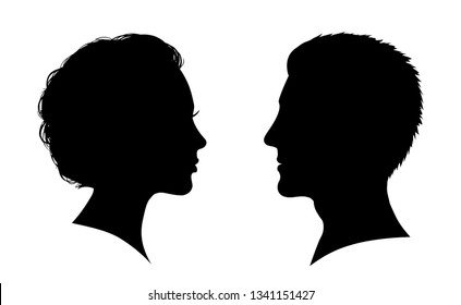 Man and woman face silhouette. Face to face – for stock vector