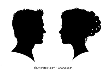 Man and woman face silhouette. Face to face – vector