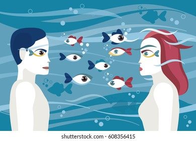 Man and woman face to face. Their eyes are like fish. Symbol of passion and desire. Psychological image.
