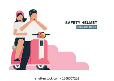 man and woman faceless cartoon, couple together wearing safety helmet before riding flat cartoon character design