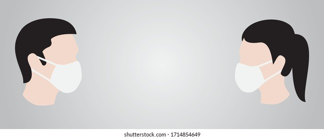 Man and Woman in facemasks opposit each other on gradient gray background (vector illustration)