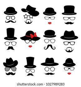 Man and woman faces. Photo props collections. Retro party set with glasses, mustache, beard, hats and lips. Vector illustration