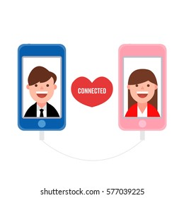 Man and woman falling in love via smartphone. Online dating concept.  Man and woman keep their relationship via internet. Long distance love concept.