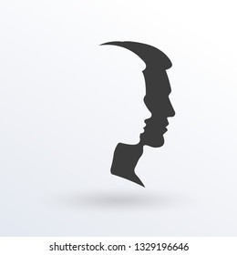 Man and woman feces logo. Male and female face silhouette. Side view. Vector illustration.