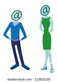 Man and woman figures representing digital identity
