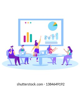 Man Woman Financial Analysts Traders Bankers at Business Meeting Conference Presentation Briefing Analyze Examine Financial Report Planning Seek Solution with Gadgets Vector Illustration