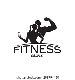 man and woman of fitness silhouette character make selfie vector design template