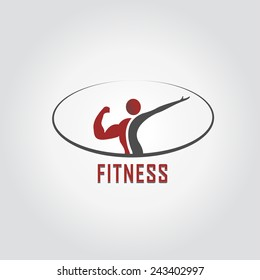 Man and woman of fitness vector design icon.