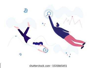 a man and woman float on air, clean vector illustration. pie chart and analysts analyzing statistical or financial information. Big data analysis solutions. Modern vector illustration for web site