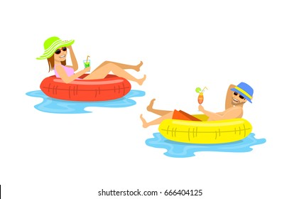 man and woman floating on inflatable inner rings, mattress, tubes isolated vector illustration