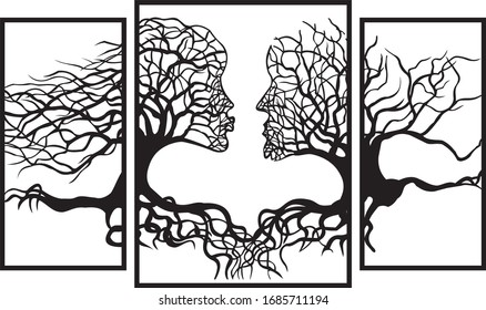 man and woman in the form of a tree with roots