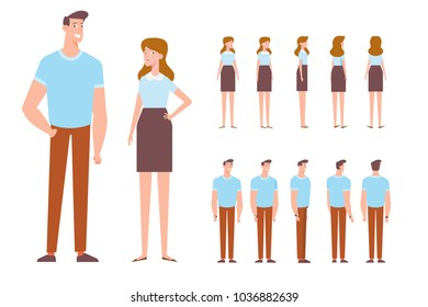 Man and woman. Front, side, back, 3/4 view characters. Cartoon style, flat vector illustration.