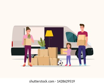 Man, woman  and girl hold boxes. Moving house. Cargo van with open door.  Vector flat style illustration