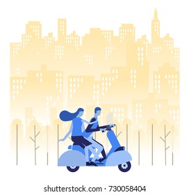 A man and woman are go to working by motorcycle.Business concept.