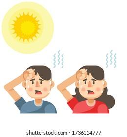 Man and woman got sunburn in very hot summer days, man and woman exhausted and sunburn vector illustration