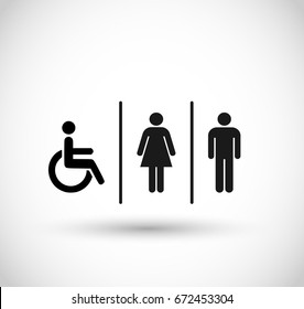 Man, woman and handicap icon vector