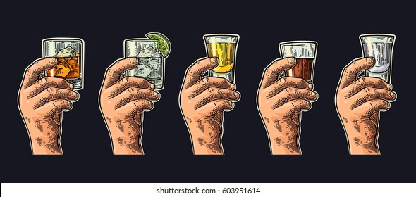 Man and woman hands holding and clinking glass with tequila, vodka, rum, gin, whiskey. Vintage color vector engraving illustration for poster, invitation to party. Isolated on dark background
