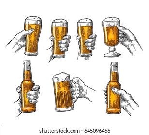 Man and woman hands holding and clinking with beer glass and open beer bottle. Vintage vector color engraving illustration for web, poster, invitation to party. Isolated on white background.