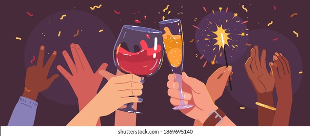Man, woman hands holding sparklers, clinking glasses with alcohol drinks having Christmas party. Friends persons celebrating holiday event together at club. Celebration fun flat vector illustration
