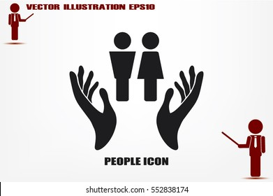 Man and Woman, hands icon vector illustration eps10. Isolated badge for website or app - stock infographics